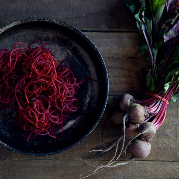 Beetroot Spaghetti with Goat's Cheese & Walnuts