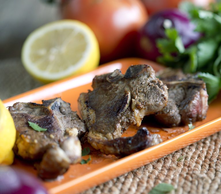 Greek Potatoes & Grilled Lamb Chops