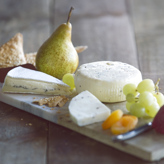 A platter of cheeses